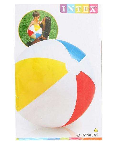 ИНТЕКС  59020 Мяч надув. пляжный 51см Цветной, от 3 лет в. п 25. 5х19х0. 5см 1. 36