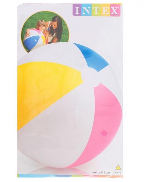 ИНТЕКС  59030 Мяч надув. пляжный 61см Цветной, от 3 лет в. п 3х15. 5х1. 5см 1. 36
