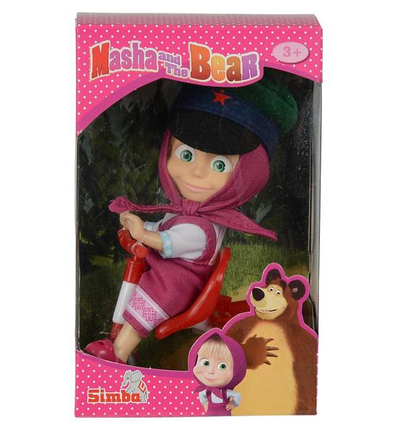 Simba 9301684 Masha the Bear Маша в фуражке с велосипедом, 12/96