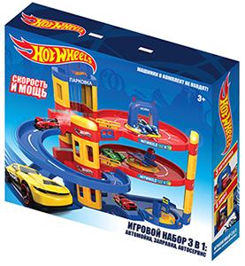 Нордпласт 431202 Hot Wheels. Игровой набор Хот Вилс 3-в-1: автомойка, заправка, автосервис