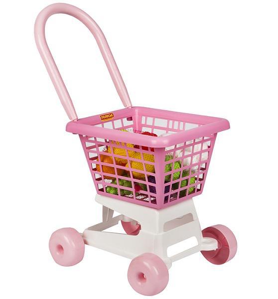 Полесье  68477 Тележка Supermarket №1 (розовая) + набор продуктов в. с