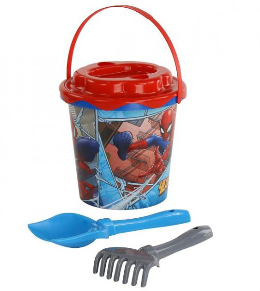 Полесье  65841 Набор Marvel Человек-Паук №11: Ведро с наклейкой, ситечко Солнышко, лопатка №5, грабельки №5