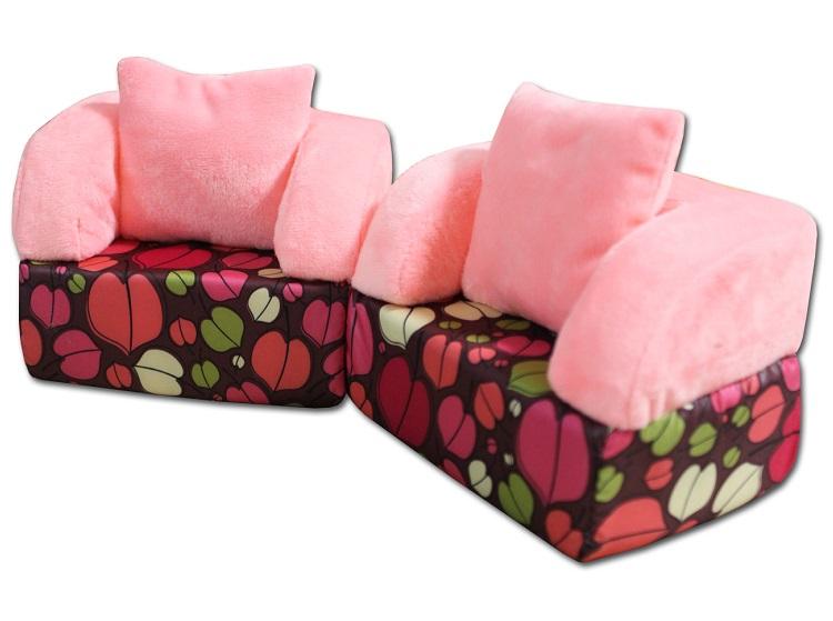 Belon Набор мебели НМ-004. 1-5 София 2 кресла, ярко-розовый плюш+ яркие листья