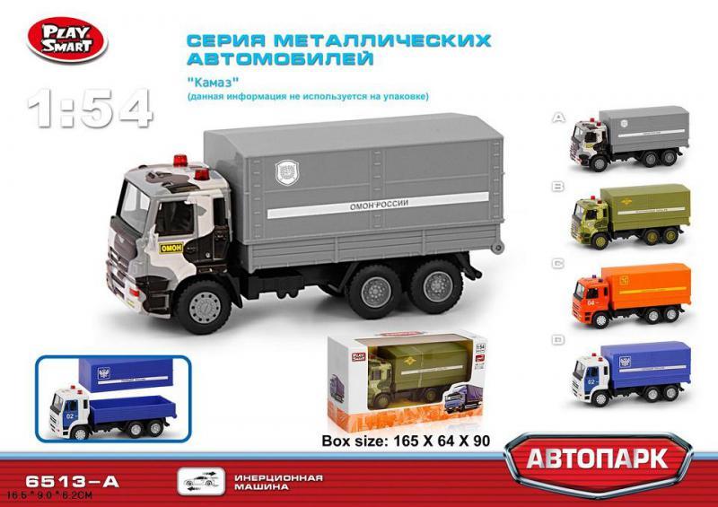 Play Smart 6512А Машина металл. инерц. 1:54 Камаз Омон