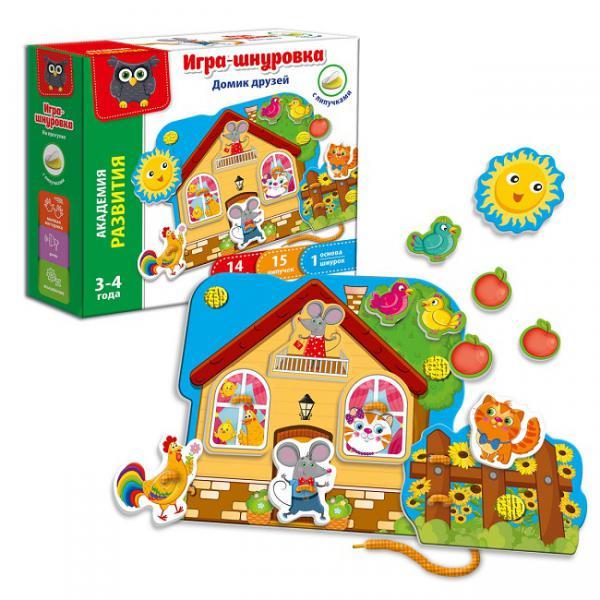 Vladi-Toys  Игра-шнуровка с липучками 5303-01 Домик друзей