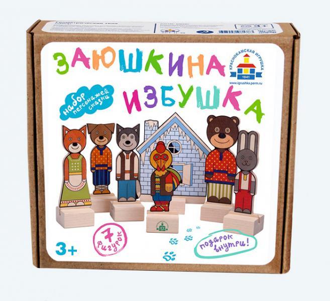 Краснокамская игрушка Дерев. Н-68 Набор Персонажи сказки Заюшкина избушка (микрогофра)