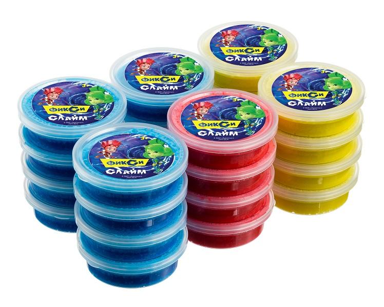 Центрум 90114 Фиксики Слайм жвачка для рук, ароматизиров., цв. синий, зеленый, желтый, красный, 70мл