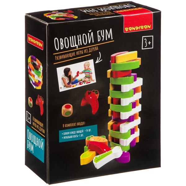 Bondibon  Развивающ. игры из дерева Игра-баланс Оовощной бум, башня из овощей 24. 3х7х18. 3см ВВ4179