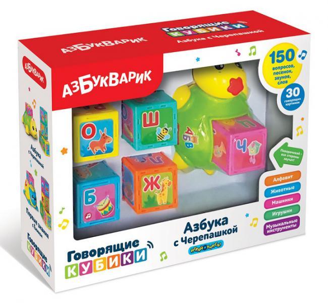 Азбукварик Азбука с Черепашкой (жёлтая) (комплект: черепашка и кубики 5шт. ) 91974