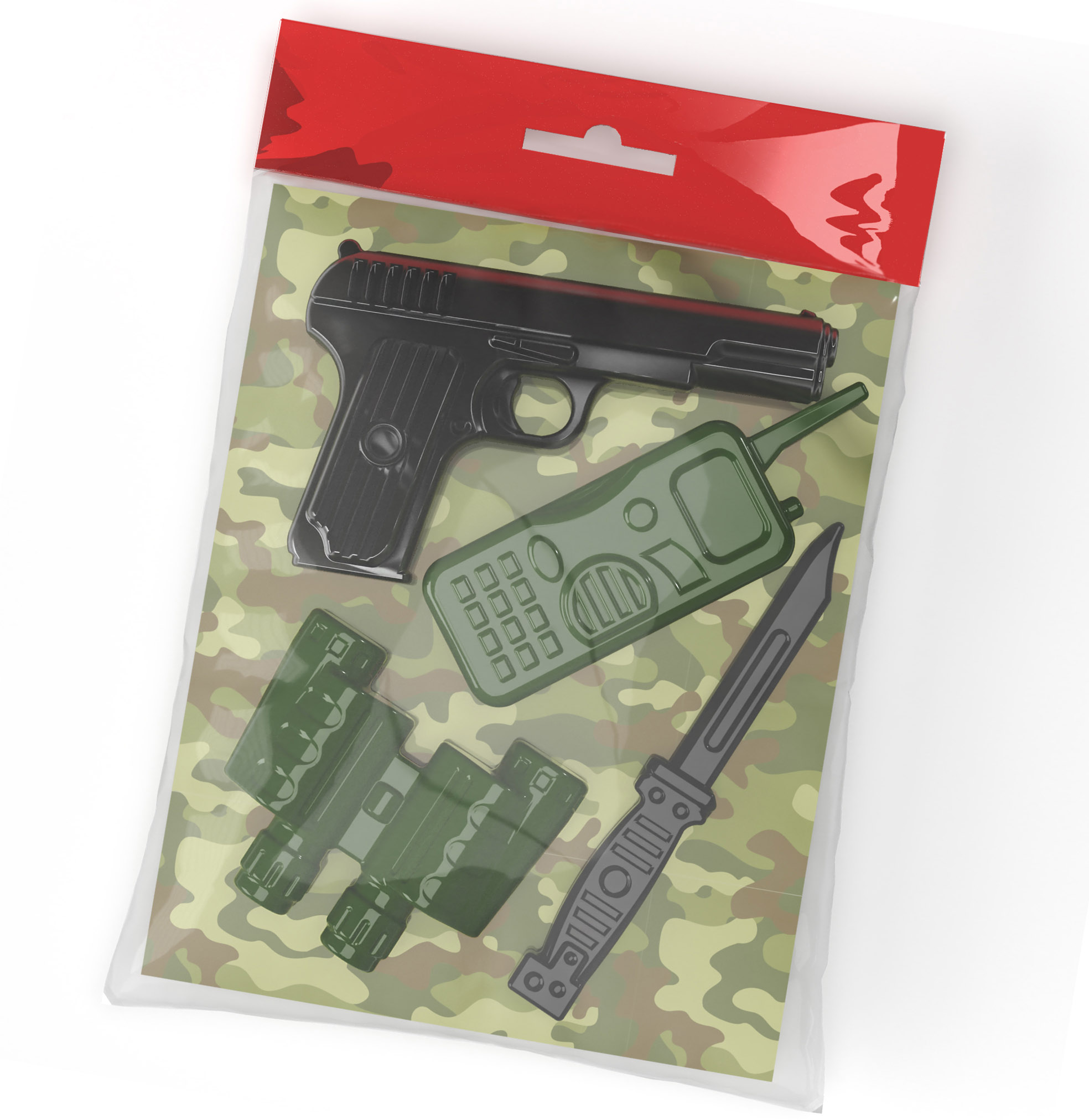 Десятое кор.   Оружие пласт. 02338 Пистолет, рация, бинокль, нож
