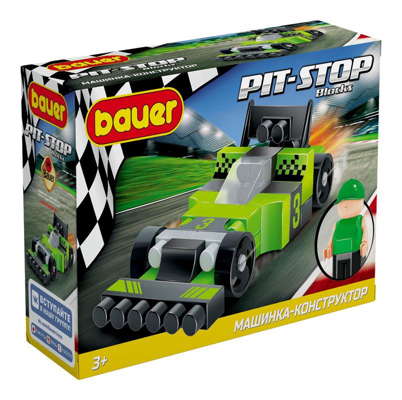 Бауер Конструктор 812 Pit Stop Гоночная машина (цвет черный, зелёный) 38 дет. в. к 15х22. 5х7см