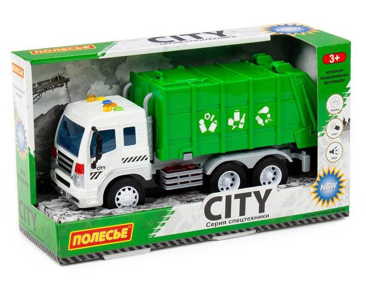 Полесье  86389 Сити, автомобиль коммунальный инерц., со светом и звуком (зелёный) в. к