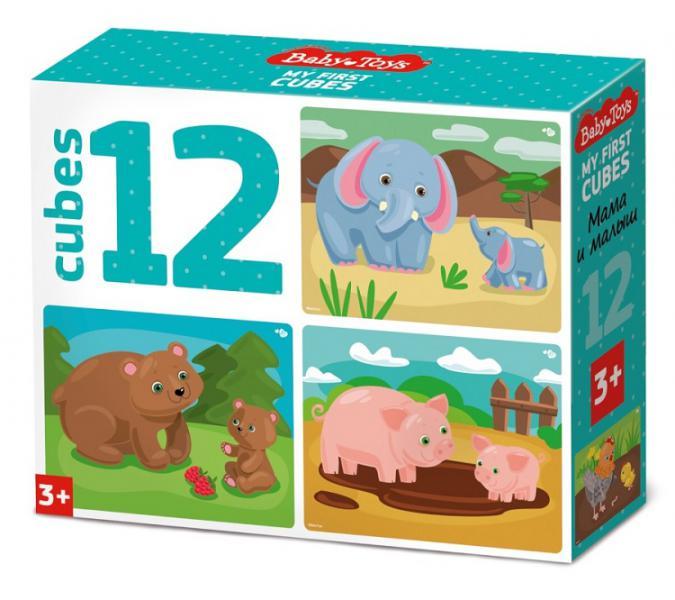 Десятое кор.   Кубики 12шт.  03537 Мама и малыш (без обклейки) Baby Toys