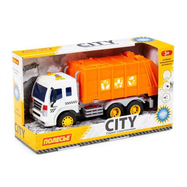 Полесье  86426 Сити, автомобиль коммунальный инерц., со светом и звуком (оранжевый) в. к(в коробке)