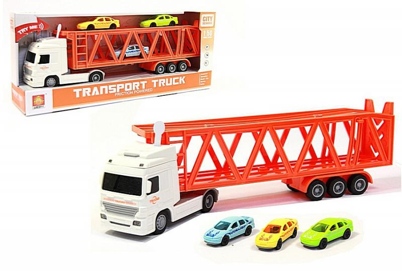 Наш Китай  Автотрейлер фрикц. WY792B City Servise. Transport Truck, 1:50 в наборе с 3-мя машинками, свет, звук в. к BF126227