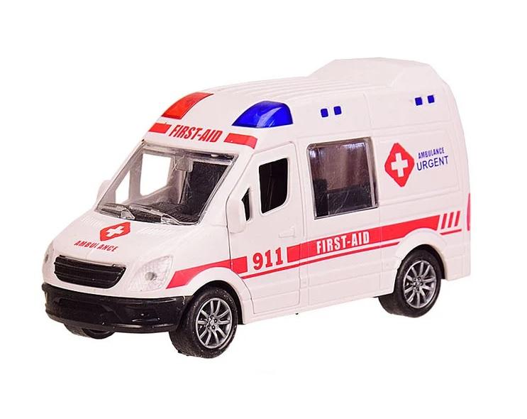 Наш Китай  Машина пласт. фрикц. JW567-023 Спецслужба. Микроавтобус скорая помощь 911 12х4. 5х6. 5см, открыв. передн. и задние двери, б. уп. BF129691-1 10. 24. 240