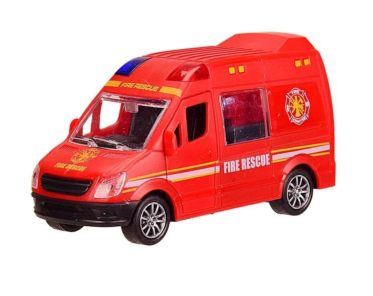 Наш Китай  Машина пласт. фрикц. JW567-023 Спецслужба. Микроавтобус Пожарная служба, 12х4. 5х6. 5см, открыв. передн. и задние двери, б. уп. BF129691-2 10. 24. 240