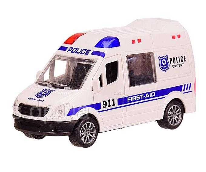 Наш Китай  Машина пласт. фрикц. JW567-023 Спецслужба. Микроавтобус Полиция, цв. белый 12х4. 5х6. 5см, открыв. передн. и задние двери, б. уп. BF129691 10. 24. 240