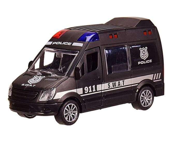 Наш Китай  Машина пласт. фрикц. JW567-023 Спецслужба. Микроавтобус Полиция, цвет черный, 12х4. 5х6. 5см, открыв. передн. и задние двери, б. уп. BF129691-410. 24. 240