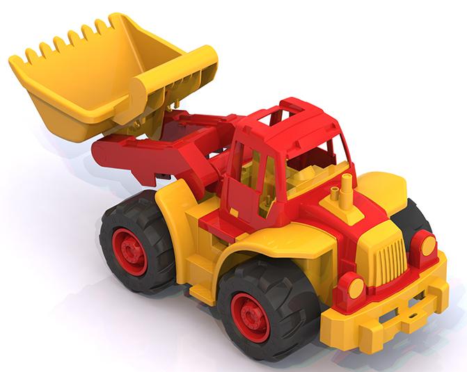 Нордпласт 299 Трактор Богатырь красный  мини с грейдером 6шт. кор
