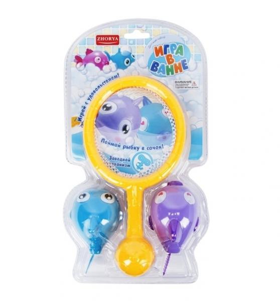Zhorya 558. 559 Игра в ванне голубо-фиолетовая, плавающие рыбки на заводном мех.