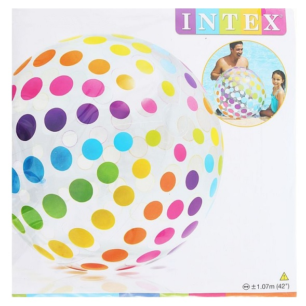 ИНТЕКС Мяч цветные полоски 107см 24шт. кор (59065)