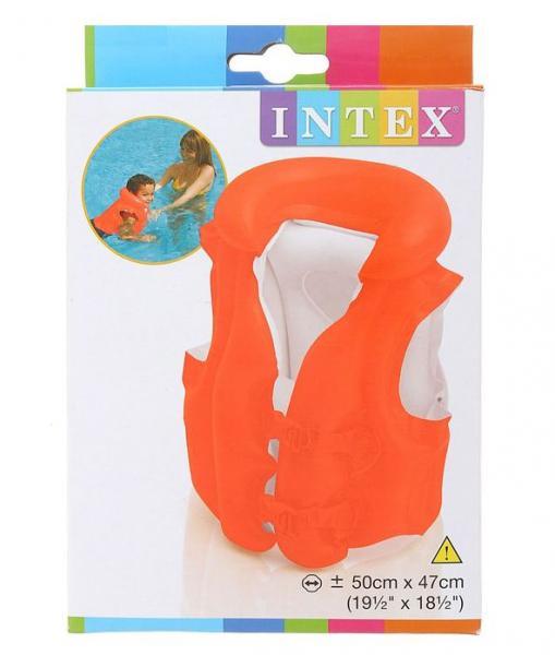 ИНТЕКС  58671 Жилет 50х47см надув. Делюкс оранжевый, яркий, от 3-6 лет в. к 1. 24