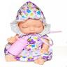 Kaibibi baby  Спящий малыш BLD195-3 Пупс в белом в цветочек платье и чепчике c бутылочкой, в шаре d11см, 12шт- бокс CE106065-2 12. 192